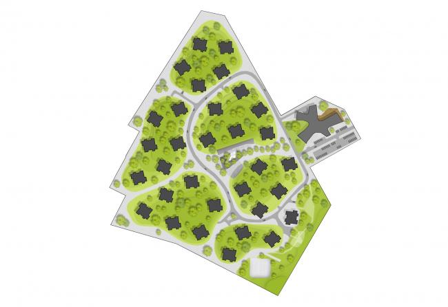 Генплан. Жилой микрорайон Поляна самоцветов © Архитектурное бюро «ПАНАКОМ»