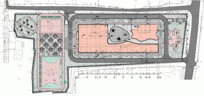Генплан и план благоустройства территории. Школа в Мамонтовке. План 2 этажа © ADM