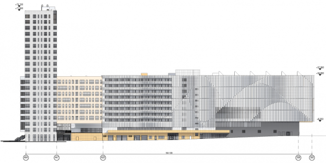 Схема развертки по западному проезду. Многофункциональный комплекс и Центр художественной гимнастики © АБ Остоженка