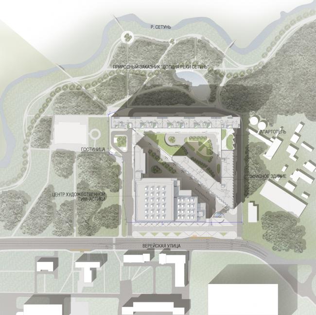 Схема озеленения. Многофункциональный комплекс и Центр художественной гимнастики © АБ Остоженка