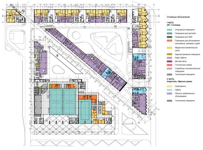 Схема сводного плана 1-го этажа. Многофункциональный комплекс и Центр художественной гимнастики © АБ Остоженка