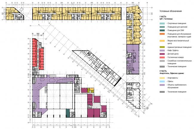 Схема плана 2-го этажа. Многофункциональный комплекс и Центр художественной гимнастики © АБ Остоженка