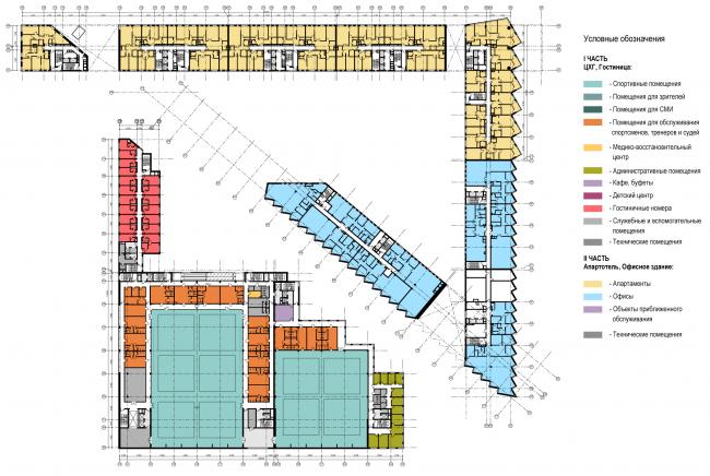 Схема плана 3-го этажа. Многофункциональный комплекс и Центр художественной гимнастики © АБ Остоженка