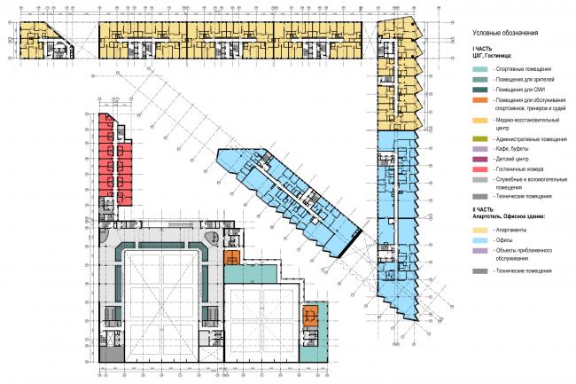 Схема плана 4-го этажа. Многофункциональный комплекс и Центр художественной гимнастики © АБ Остоженка