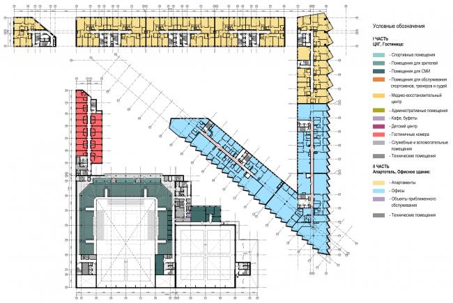 Схема плана 5-го этажа. Многофункциональный комплекс и Центр художественной гимнастики © АБ Остоженка