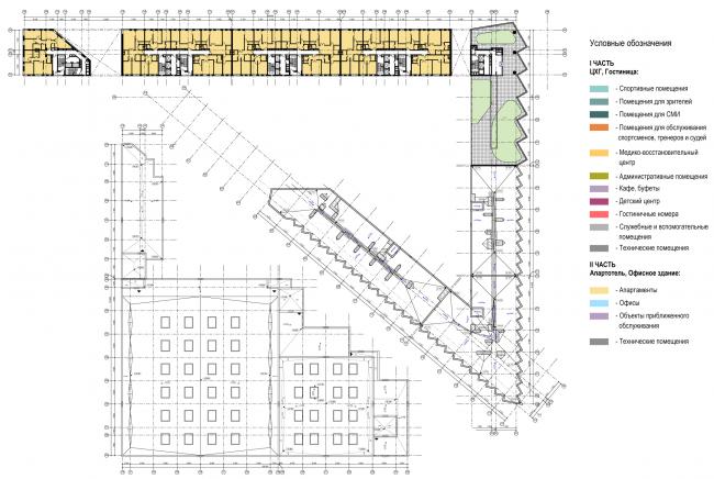 Схема плана 9-го этажа I части, плана кровли II части. Многофункциональный комплекс и Центр художественной гимнастики © АБ Остоженка