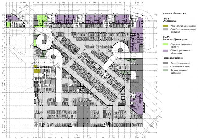Схема плана -1-го этажа. Многофункциональный комплекс и Центр художественной гимнастики © АБ Остоженка