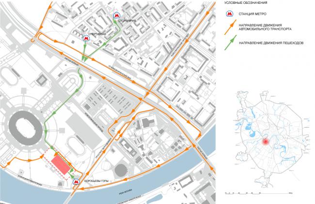 Схема транспортной и пешеходной доступности комплекса. Концепция реконструкции бассейна «Лужники» © Arch Group