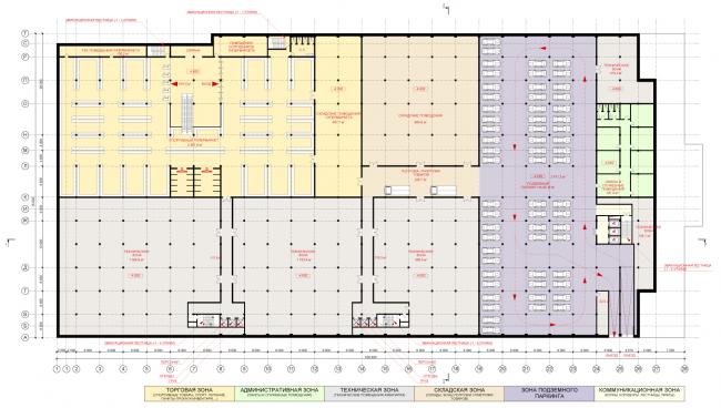 План -1-го уровня. Концепция реконструкции бассейна «Лужники» © Arch Group
