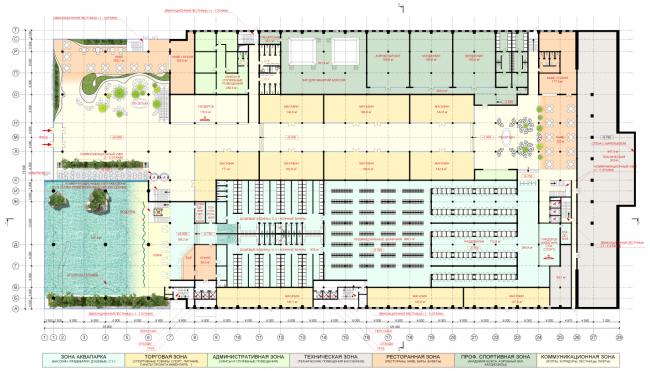 План 1-го уровня. Концепция реконструкции бассейна «Лужники» © Arch Group
