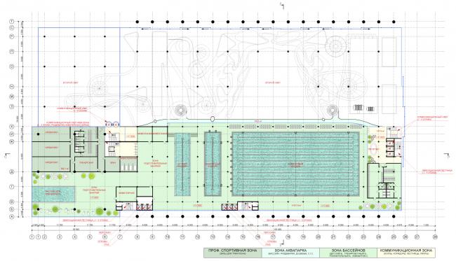 План 3-го уровня. Концепция реконструкции бассейна «Лужники» © Arch Group