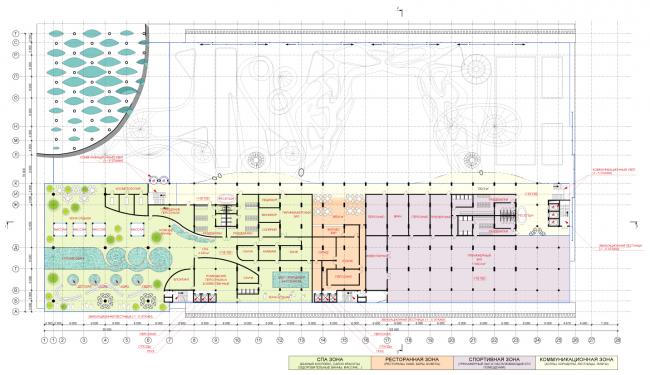 План 4-го уровня. Концепция реконструкции бассейна «Лужники» © Arch Group