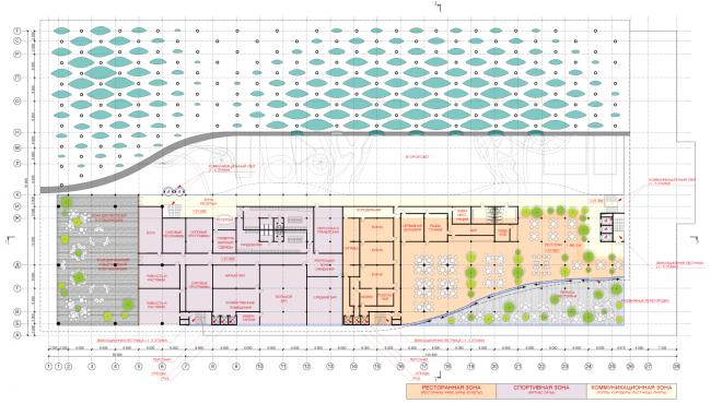 План 5-го уровня. Концепция реконструкции бассейна «Лужники» © Arch Group