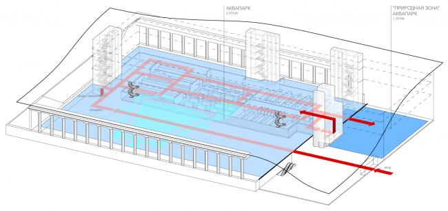 Схема функционального зонирования с указанием основных потоков посетителей. Аквапарк. Концепция реконструкции бассейна «Лужники» © Arch Group