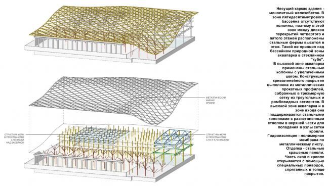 Конструктивная схема здания. Концепция реконструкции бассейна «Лужники» © Arch Group