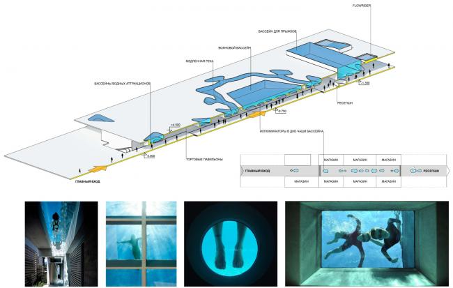 Схема устройства иллюминаторов в чашах бассейнов над торговой галереей. Концепция реконструкции бассейна «Лужники» © Arch Group