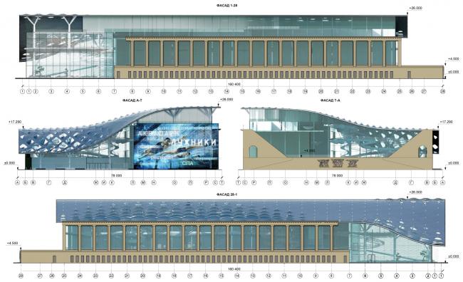 Фасады. Концепция реконструкции бассейна «Лужники» © Arch Group