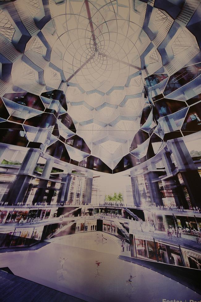 Норман Фостер. «Хрустальный остров» в Нагатинской пойме. Визуализация интерьера центральной зоны, над которой к стенкам «шатра» лепятся большие стеклянные соты-«мукарнасы»