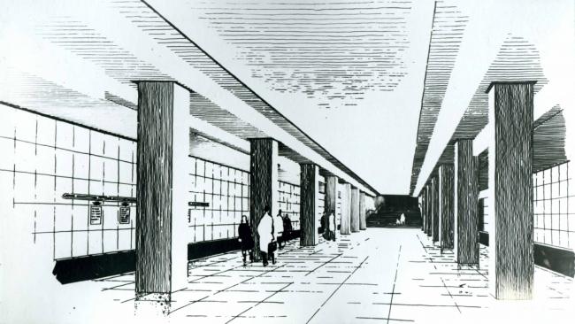 Эскиз типовой станции метрополитена. Конец 1950-х – начало 1960-х годов © Метрогипротранс