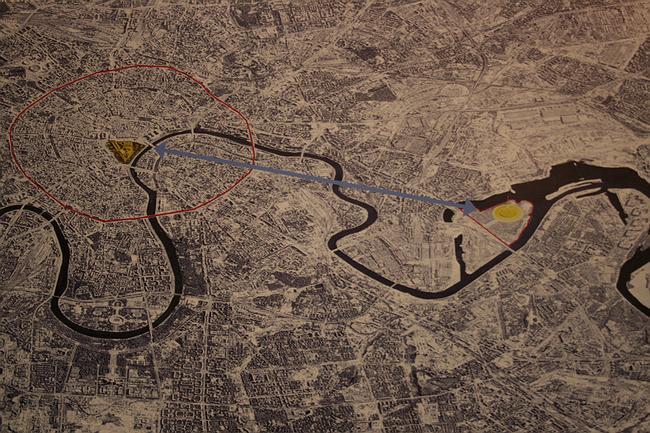 Норман Фостер. «Хрустальный остров» в Нагатинской пойме. На этом плане сопоставлено расположение «Хрустального острова» и Кремля