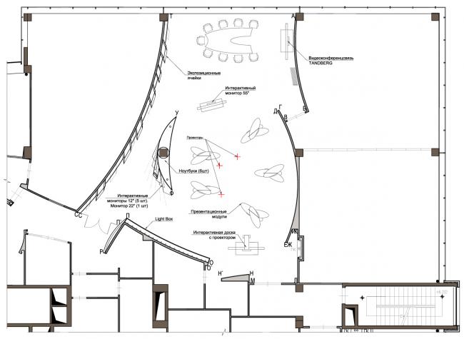 План расстановки мебели и оборудования. Инновационный центр компании Dupont © Arch Group
