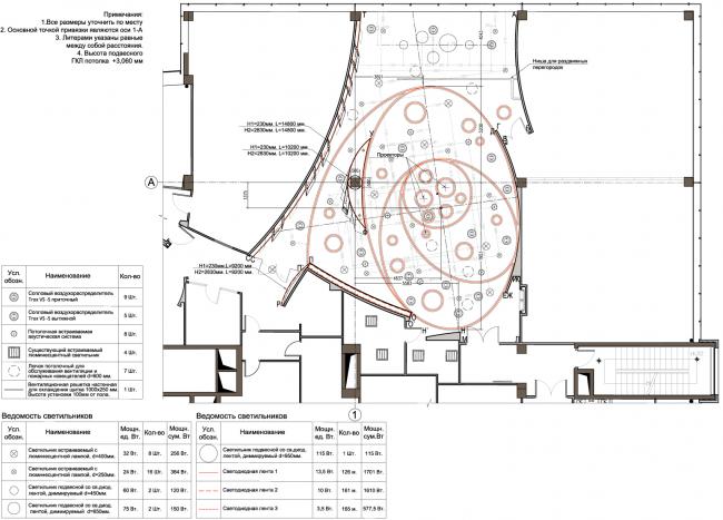 План потолка с привязкой осветительных и акустических приборов. Инновационный центр компании Dupont © Arch Group