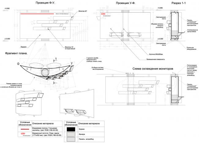 Деталировочные чертежи объекта из кориана с мониторами. Инновационный центр компании Dupont © Arch Group