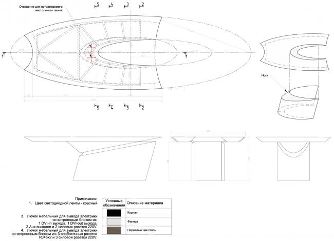 Деталировочные чертежи стола. Инновационный центр компании Dupont © Arch Group