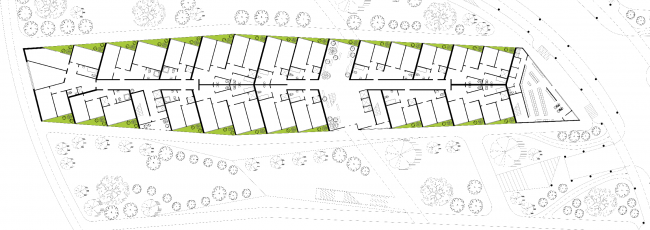 План 1-го этажа. Районы многоквартирных домов. Концепция жилых кварталов планировочного района «Технопарк» инновационного центра «Сколково» © Arch Group