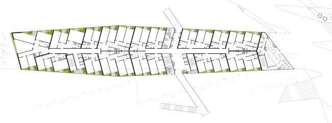 План 2-го этажа. Районы многоквартирных домов. Концепция жилых кварталов планировочного района «Технопарк» инновационного центра «Сколково» © Arch Group