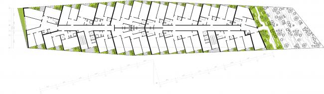 План 5-го этажа. Районы многоквартирных домов. Концепция жилых кварталов планировочного района «Технопарк» инновационного центра «Сколково» © Arch Group
