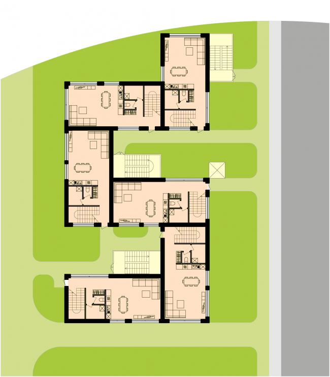 План 1-го этажа группы таунхаусов. Районы таунхаусов. Концепция жилых кварталов планировочного района «Технопарк» инновационного центра «Сколково» © Arch Group