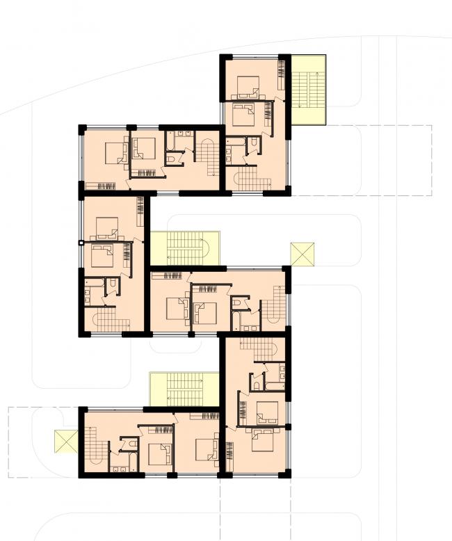 План 2-го этажа группы таунхаусов. Районы таунхаусов. Концепция жилых кварталов планировочного района «Технопарк» инновационного центра «Сколково» © Arch Group