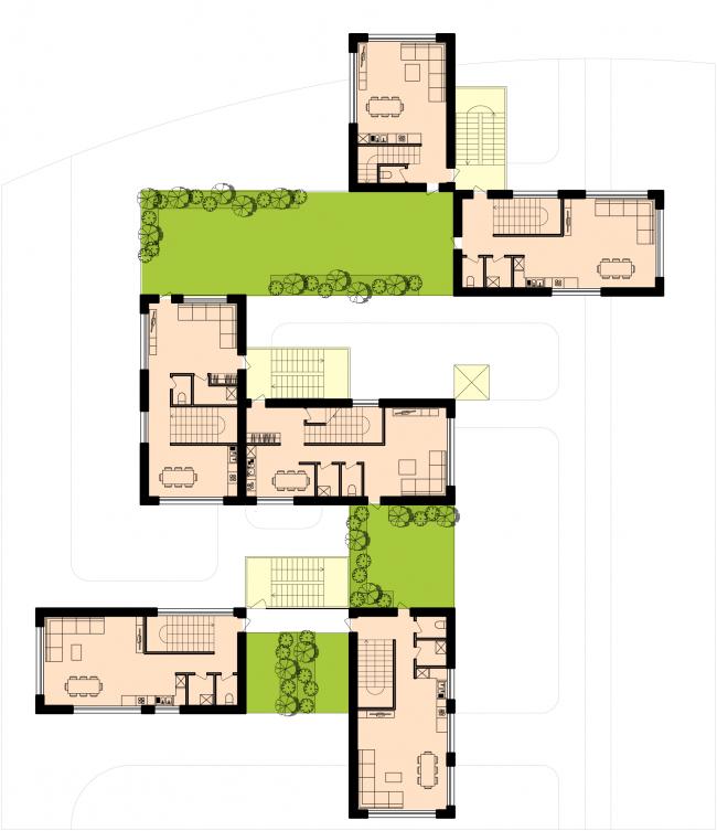 План 3-го этажа группы таунхаусов. Районы таунхаусов. Концепция жилых кварталов планировочного района «Технопарк» инновационного центра «Сколково» © Arch Group