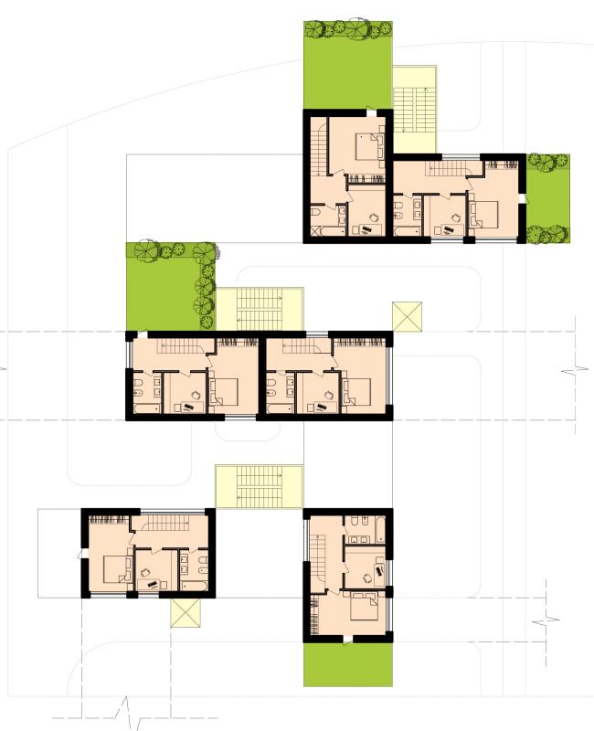 План 4-го этажа группы таунхаусов. Районы таунхаусов. Концепция жилых кварталов планировочного района «Технопарк» инновационного центра «Сколково» © Arch Group