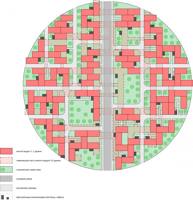 Схема плана 1-го этажа острова. Районы таунхаусов. Концепция жилых кварталов планировочного района «Технопарк» инновационного центра «Сколково» © Arch Group