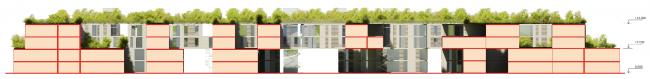Схема разреза. Районы таунхаусов. Концепция жилых кварталов планировочного района «Технопарк» инновационного центра «Сколково» © Arch Group