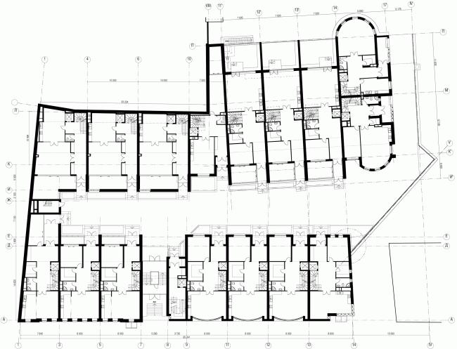 Комплекс Таунхаусов. Комплексная реконструкция двух домовладений. План 1 этажа © АБ Остоженка
