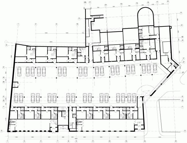 Комплекс Таунхаусов. Комплексная реконструкция двух домовладений. План подземного этажа © АБ Остоженка