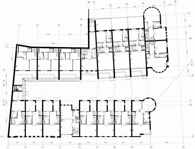 Комплекс Таунхаусов. Комплексная реконструкция двух домовладений. План 2 этажа © АБ Остоженка