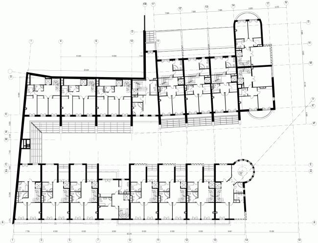 Комплекс Таунхаусов. Комплексная реконструкция двух домовладений. План 3 этажа © АБ Остоженка