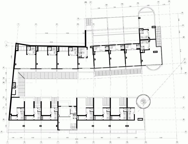 Комплекс Таунхаусов. Комплексная реконструкция двух домовладений. План 4 этажа © АБ Остоженка