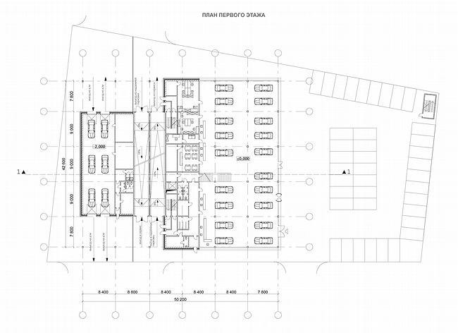 Дилерский центр с комплексом обслуживания на Куликовской улице. План 1 этажа. Проект, 2006-2007 © ADM
