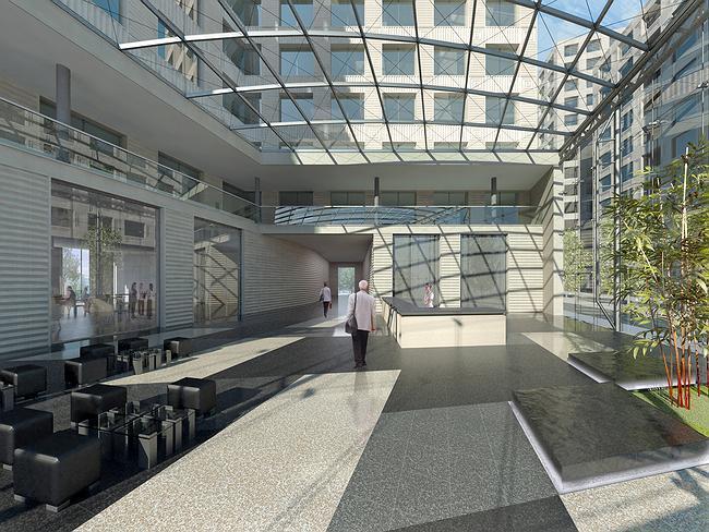 Офисно-административный комплекс с торговыми помещениями на улице Можайский вал. Вариант решения входной группы