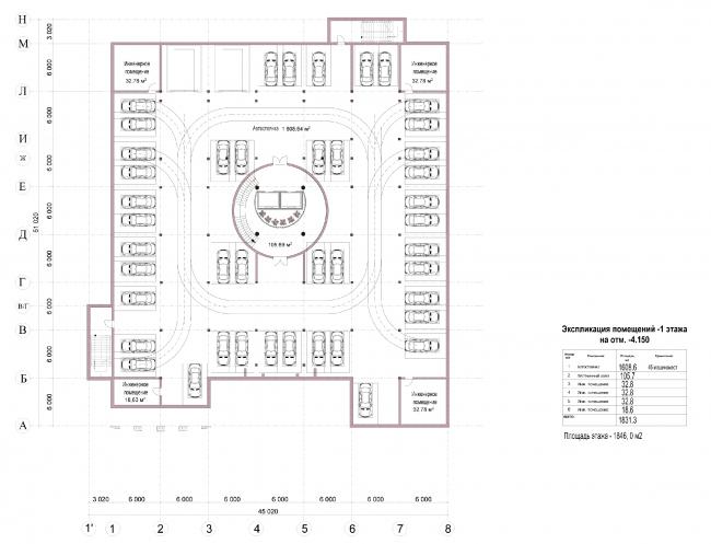 Апарт-отель «Ратуша» в поселке «Новый свет». План -1 этажа. Подземный паркинг © Архстройдизайн АСД