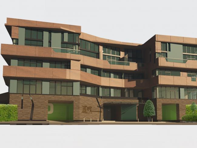 Апарт-отель «Ратуша» в поселке «Новый свет». Главный фасад. Общий вид © Архстройдизайн АСД