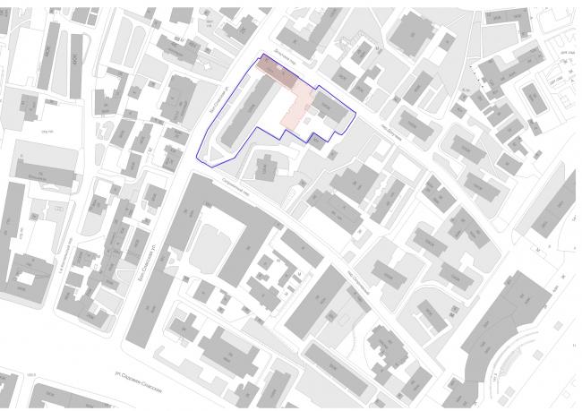 "Apartment complex ""Volga"" at the Bolshaya Spasskaya Street. Location plan. © ADM"