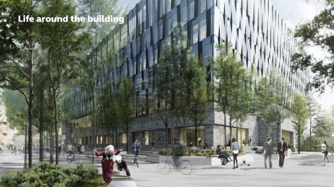 Здание банка Nordea в районе Эрестад в Копенгагене © Henning Larsen Architects. Комплекс состоит из двух зданий, стоящих на общем цоколе. Офисная часть – наверху, общедоступные пространства – на первых этажах. Комплекс  ориентирован на  взаимодействие с городом: перед ним и в атриуме созданы как отдельные тихие, камерные места, так площади и улицы для  разных контактов и деятельности.