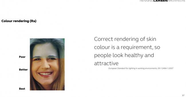 Сигне рассказала, насколько важно не ошибиться при выборе оттенков стекла. Оказалось, европейский стандарт требования к освещению на рабочем месте настроен на правильную передачу  цветов кожи человека. Так, чтобы люди в помещении  выглядели здоровыми и привлекательными.