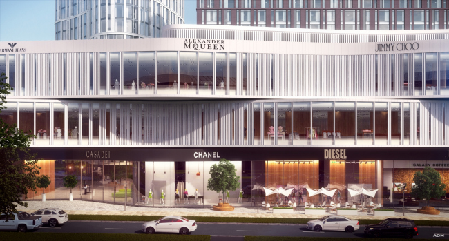 Hotel and shopping complex at the Leninsky Avenue. Shopping center © ADM Studio